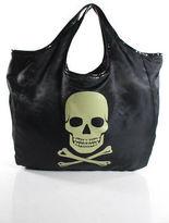 Betsey Johnson Black Nylon Patent Trim Skull Tote Handbag