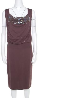 Escada Mauve Silk Cotton Iridescent Paillette Embellsihed Shawn Dress M