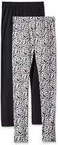 Jessica Simpson Women's Basic Black and White Animal Print Leggings 2-Pack