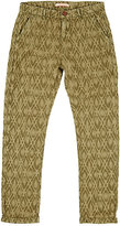 Scotch R'Belle IKAT-INSPIRED COTTON OXFORD CLOTH PANTS-GREEN SIZE 8