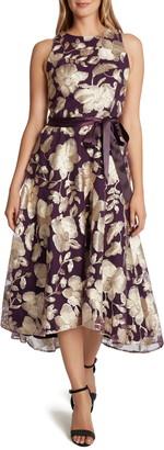 Tahari Floral Metallic Embroidery Sleeveless Midi Dress