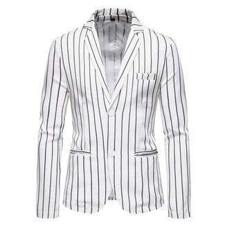 AOWOFS Men's Casual Blazer 2-Button Long Sleeve Regular Fit Jacket Stripe Casual Suits White