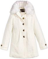 Jessica Simpson Embossed Dress Coat with Faux-Fur Trim, Big Girls (7-16)