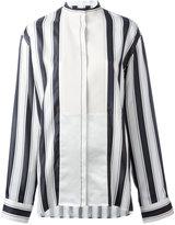 Haider Ackermann collarless stripe blouse - women - Cotton/Silk - 38
