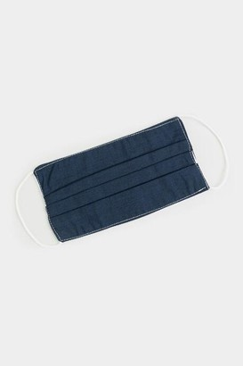 francesca's Joise Solid Pleated Reusable Face Mask - Navy