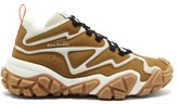 Acne Studios Chunky-sole Suede And Mesh High-top Trainers - Mens - Beige Multi
