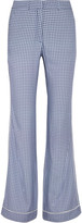 Paul & Joe Satin-trimmed Printed Crepe Straight-leg Pants - Navy