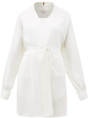 Lunya - Elasticated-cuff Belted Silk Robe - White