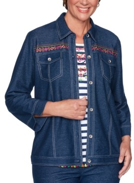Alfred Dunner Petite Road Trip Embroidered Embellished Jacket