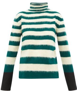 Marni Striped High-neck Wool-blend Sweater - Womens - Green Stripe