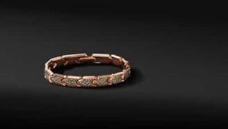 David Yurman Link Bracelet In 18K Rose Gold With Pave Cognac Diamonds