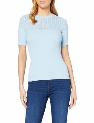 Dorothy Perkins Women's Pale Blue Short Sleeve Rib Jumper Pullover Sweater 20