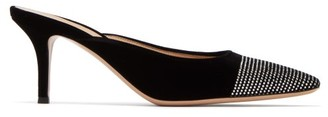 Gianvito Rossi Crystal-embellished 70 Velvet Mules - Womens - Black