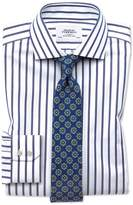 Charles Tyrwhitt Extra Slim Fit Spread Collar Non-Iron Bengal Wide Stripe White and Blue Cotton Dress Shirt French Cuff Size 15/33
