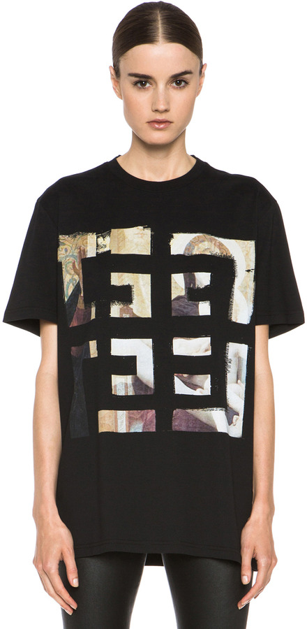 Givenchy 4G Painting Logo Cotton Tee in Black