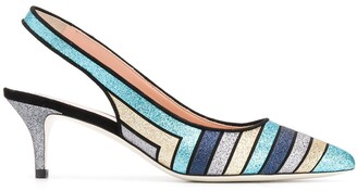 Pollini Metallic Sling-Back Pumps