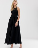 Little Mistress embellished uple and lace covered back maxi dress