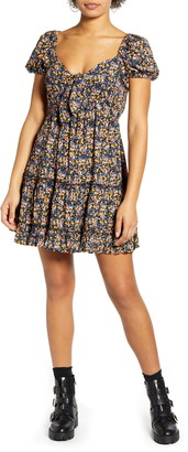 Band of Gypsies Tie Front Short Sleeve Minidress