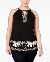 INC International Concepts Plus Size Elephant-Print Halter Top, Only at Macy's