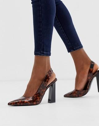 Asos Design DESIGN Padlock slingback pointed high heels in tortoise print-Multi