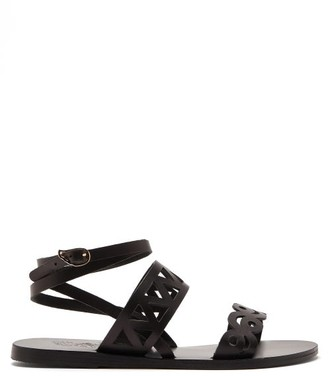 Ancient Greek Sandals Ostria Cut-out Leather Sandals - Black