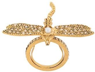 Oscar de la Renta Dragonfly crystal-embellished ring