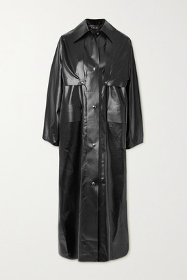 Kassl Editions Reversible Convertible Vinyl Trench Coat - Black