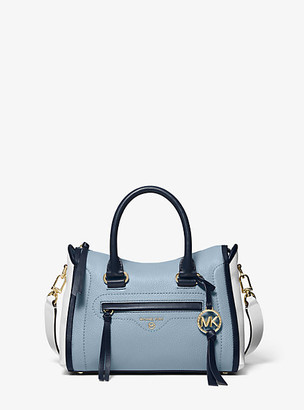 MICHAEL Michael Kors MK Carine Small Color-Block Pebbled Leather Satchel - Nvy/wht/pblu - Michael Kors