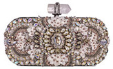 Marchesa Lily Medium Embroidered Oval Clutch, Black