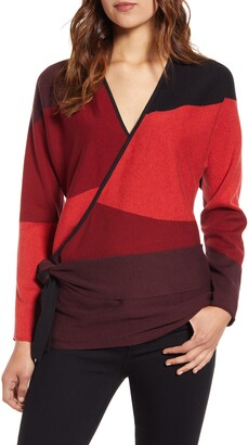 Nic+Zoe New Wave Colorblock Faux Wrap Sweater