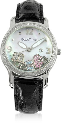 Rosato Floating Bag Charms Women's Watch w/Croco Embossed Leather Strap