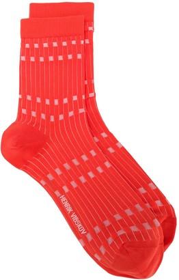 Henrik Vibskov Striped Logo Socks