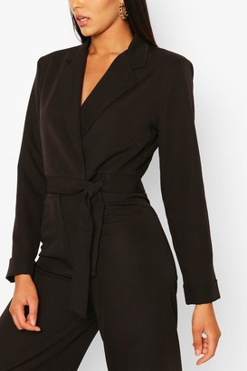 boohoo Button Cuff Wrap Crop Blazer