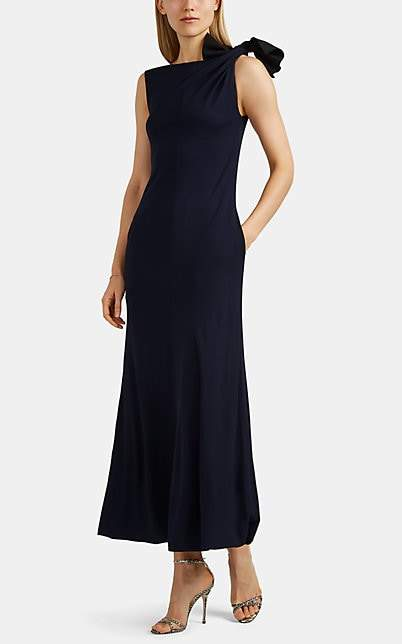 Giorgio Armani Women's Tie-Shoulder Crepe Gown - Navy