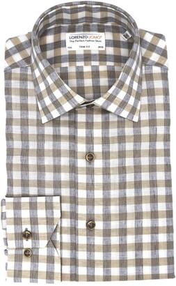 Lorenzo Uomo Heathered Gingham Print Linen Blend Trim Fit Dress Shirt