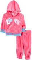 Sweet & Soft Hot Pink 'Love' Velour Zip-Up Hoodie & Sweatpants - Infant