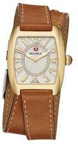 Michele Urban Mini Diamond & Leather Double-Wrap Strap Watch
