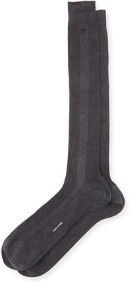 Tom Ford Basic Ribbed Dress Socks, Gray