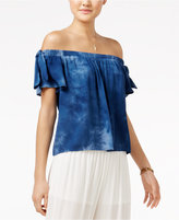 Amy Byer Juniors' Tie-Dyed Off-The-Shoulder Top