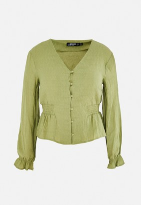 Missguided Plus Size Green Button Front Blouse