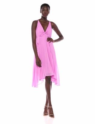 Halston Women's Sleeveless Halter-Pleated Burnout Georgette Dress
