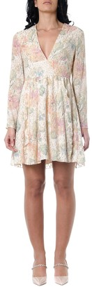 RED Valentino Floral-print Dress With Metallic Embroidery
