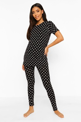boohoo Maternity Heart Print Pajama Set
