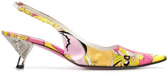 Emilio Pucci Pre-Owned 2000s printed pointed sling-backs