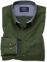 Charles Tyrwhitt Classic Fit Button-Down Soft Cotton Plain Forest Green Casual Shirt Single Cuff Size Large