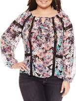 Boutique + + 3/4 Sleeve V Neck Woven Blouse-Plus