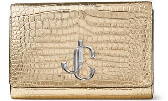 Jimmy Choo VARENNE CLUTCH Metallic Gold Croc-Embossed Leather Clutch Bag with JC Emblem