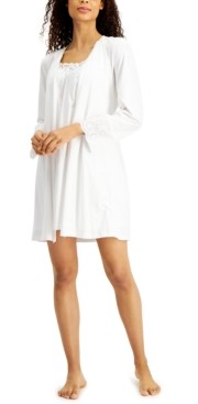 Charter Club Lace & Eyelet Nightgown & Robe Set, Created for Macy's