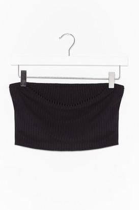 Nasty Gal Womens Keep Rib Simple Bandeau Crop Top - Black - M/L