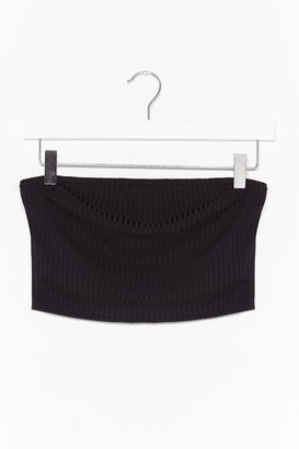 Nasty Gal Womens Keep Rib Simple Bandeau Crop Top - Black - S/M